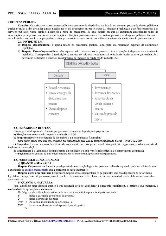 PROFESSOR: PAULO LACERDA                                                                (Orçamento Público) – 5ª, 6ª e 7ª ...