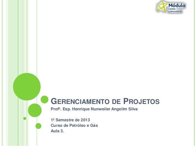 GERENCIAMENTO DE PROJETOSProfº. Esp. Henrique Nunweiler Angelim Silva1º Semestre de 2013Curso de Petróleo e GásAula 3.