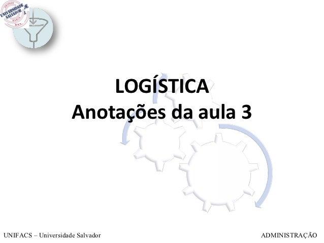 LOGÍSTICA                     Anotações da aula 3UNIFACS – Universidade Salvador            ADMINISTRAÇÃO