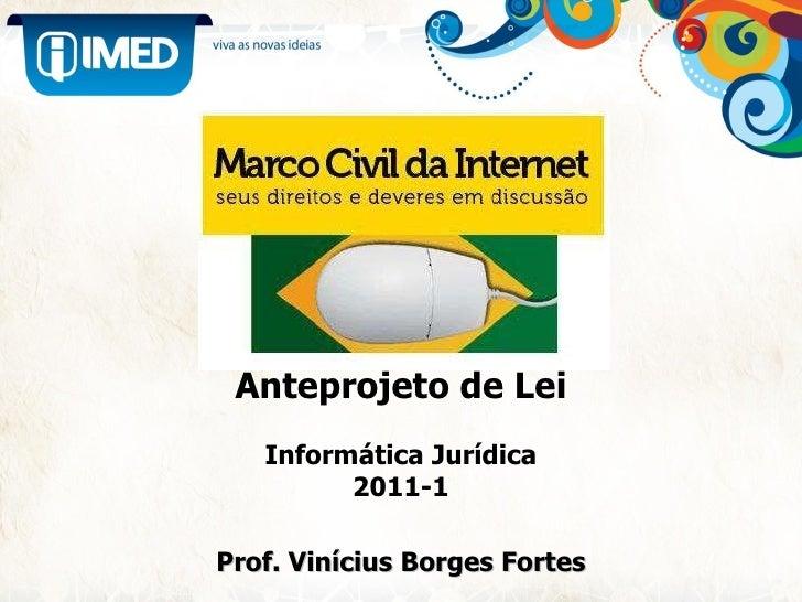Anteprojeto de Lei Informática Jurídica 2011-1 Prof. Vinícius Borges Fortes