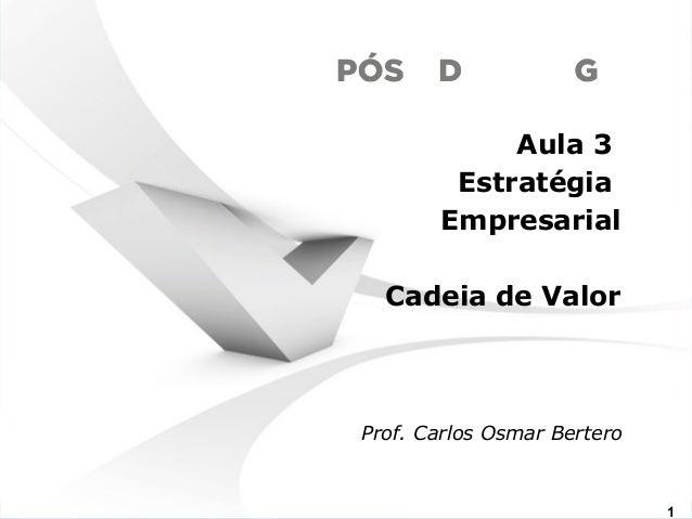 Aula 3  Estratégia  Empresarial  Cadeia de Valor  Prof. Carlos Osmar Bertero  www.fgv1.br/fgvonline1