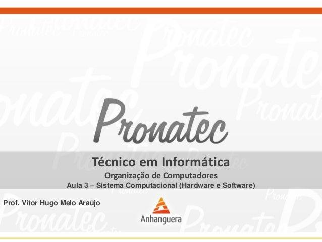Técnico em Informática Organização de Computadores Aula 3 – Sistema Computacional (Hardware e Software) Prof. Vitor Hugo M...