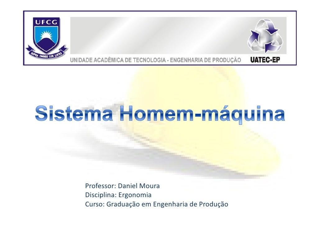 Professor: Daniel MouraDisciplina: ErgonomiaCurso: Graduação em Engenharia de Produção