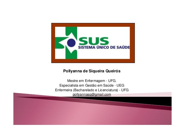 Pollyanna de Siqueira Queirós  Mestre em Enfermagem - UFG.  Especialista em Gestão em Saúde - UEG  Enfermeira (Bacharelado...