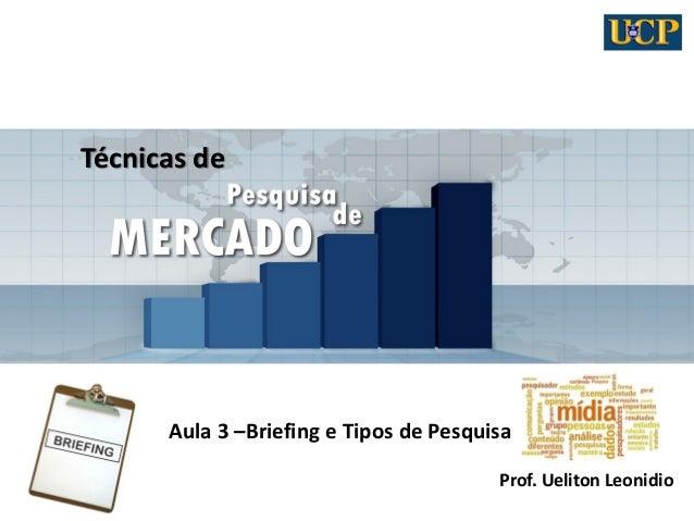 Técnicas de Aula 3 –Briefing e Tipos de Pesquisa Prof. Ueliton Leonidio