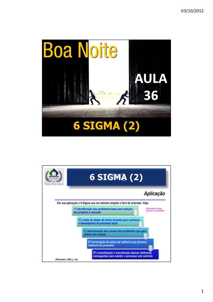03/10/2012           AULA            366 SIGMA (2)      FNQ  6 SIGMA (2)                          1