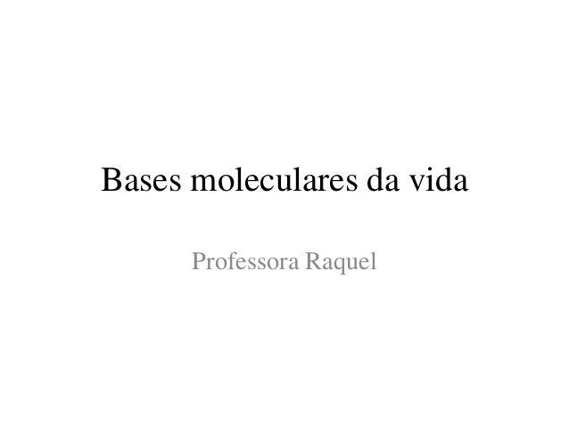 Bases moleculares da vida Professora Raquel