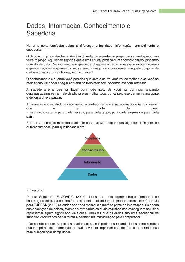 1Prof. Carlos Eduardo - carlos.nunes1@live.com Dados, Informação, Conhecimento e Sabedoria Há uma certa confusão sobre a d...