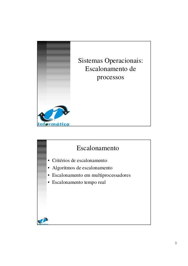1 Sistemas Operacionais: Escalonamento de processos Escalonamento • Critérios de escalonamento • Algoritmos de escalonamen...