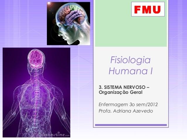 Fisiologia Humana I 3. SISTEMA NERVOSO – Organização Geral Enfermagem 3o sem/2012 Profa. Adriana Azevedo FMU