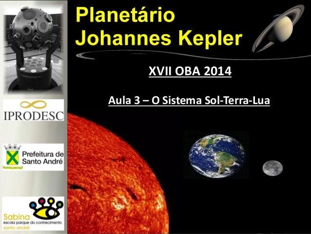 Aula 3 – O Sistema Sol-Terra-Lua XVII OBA 2014
