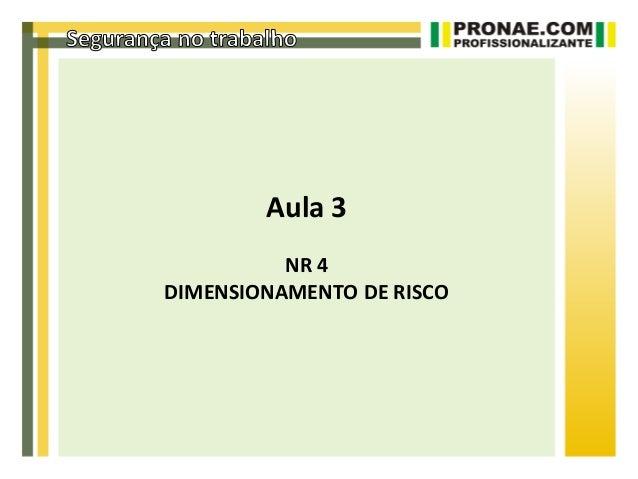 Aula 3          NR 4DIMENSIONAMENTO DE RISCO