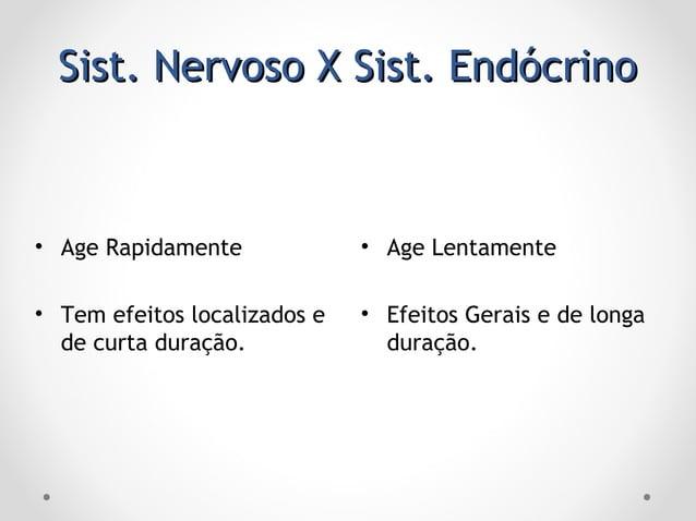 Sist. Nervoso X Sist. EndócrinoSist. Nervoso X Sist. Endócrino • Age Lentamente • Efeitos Gerais e de longa duração. • Age...