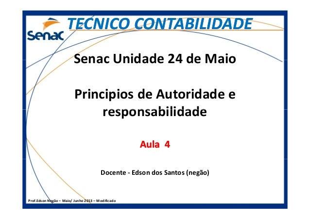 Senac Unidade 24 de Maio Principios de Autoridade e responsabilidade TECNICO CONTABILIDADETECNICO CONTABILIDADE Prof.Edson...