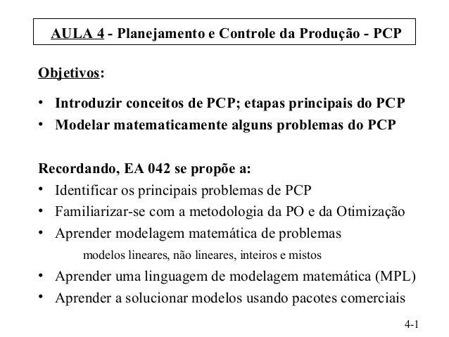 AULA 4 - Planejamento e Controle da Produção - PCP Objetivos: • Introduzir conceitos de PCP; etapas principais do PCP • Mo...