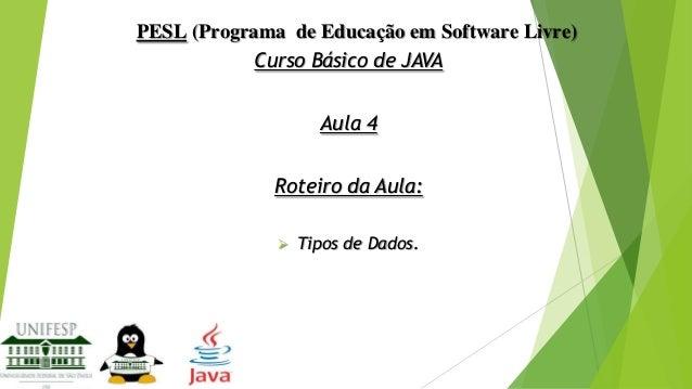 PESL (Programa de Educação em Software Livre) Curso Básico de JAVA Aula 4 Roteiro da Aula:   Tipos de Dados.