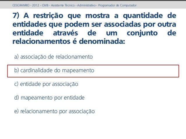 prof. Gustavo Zimmermann | contato@gust4vo.com CESGRANRIO - 2012 - CMB - Assistente Técnico - Administrativo - Programador...
