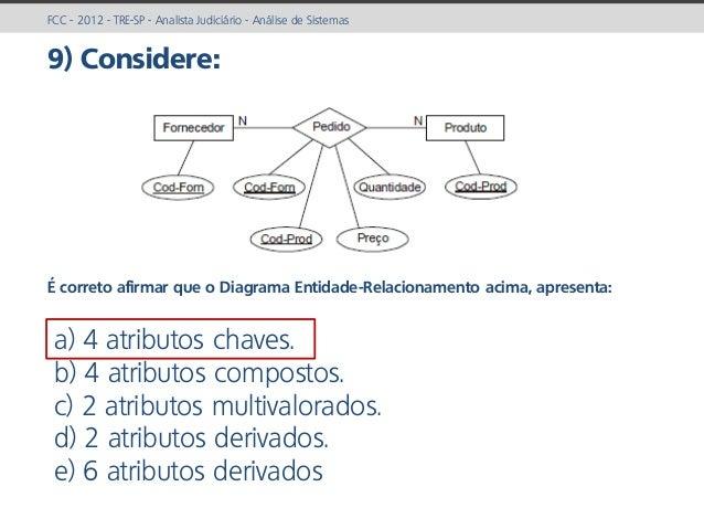 prof. Gustavo Zimmermann | contato@gust4vo.com FCC - 2012 - TRE-SP - Analista Judiciário - Análise de Sistemas 9) Consider...