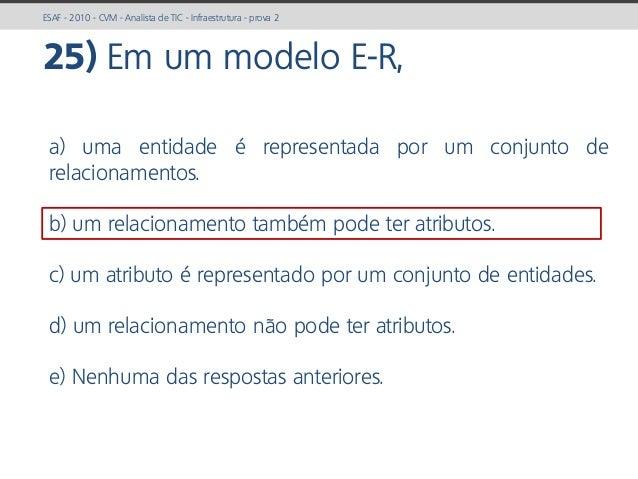 prof. Gustavo Zimmermann | contato@gust4vo.com ESAF - 2010 - CVM - Analista de TIC - Infraestrutura - prova 2 25) Em um mo...