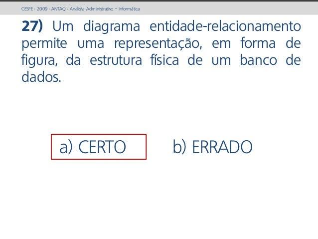 prof. Gustavo Zimmermann | contato@gust4vo.com CESPE - 2009 - ANTAQ - Analista Administrativo – Informática 27) Um diagram...
