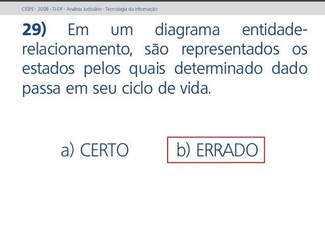 prof. Gustavo Zimmermann | contato@gust4vo.com CESPE - 2008 - TJ-DF - Analista Judiciário - Tecnologia da Informação 29) E...