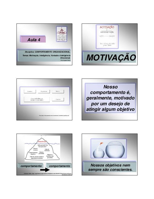 29/01/2014  Aula 4 Disciplina: COMPORTAMENTO ORGANIZACIONAL. Temas: Motivação, Inteligência, Vontade e Inteligência Emocio...