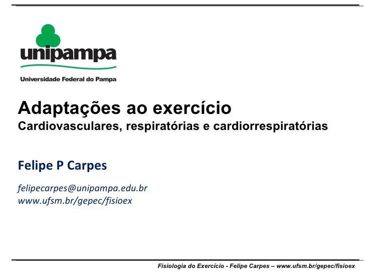 Felipe P Carpes [email_address] www.ufsm.br/gepec/fisioex Adaptações ao exercício Cardiovasculares, respiratórias e cardio...