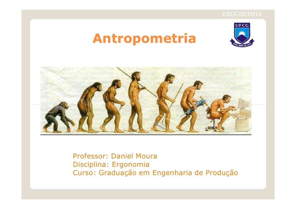 ERGONOMIA     AntropometriaProfessor: Daniel MouraDisciplina: ErgonomiaCurso: Graduação em Engenharia de Produção