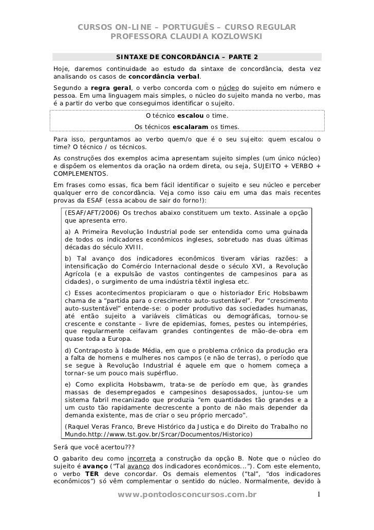 CURSOS ON-LINE – PORTUGUÊS – CURSO REGULAR             PROFESSORA CLAUDIA KOZLOWSKI                   SINTAXE DE CONCORDÂN...