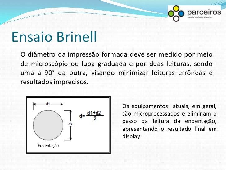 Ensaio Brinell A norma brasileira para a realização do ensaio é a NBR 6394 e a norma internacional de maior utilização no ...