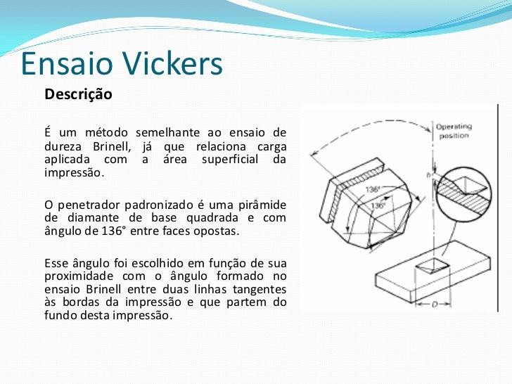 Ensaio Vickers A escolha da carga aplicada depende da maquina. Sempre se busca uma carga que possa fornecer uma endentação...