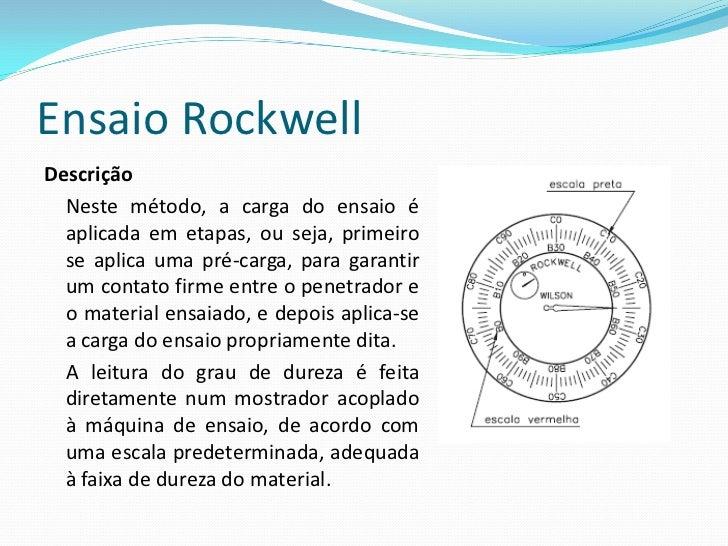 Ensaio Rockwell O penetrador tanto pode ser um diamante esferocônico com ângulo de 120° e ponta ligeiramente arredondada, ...