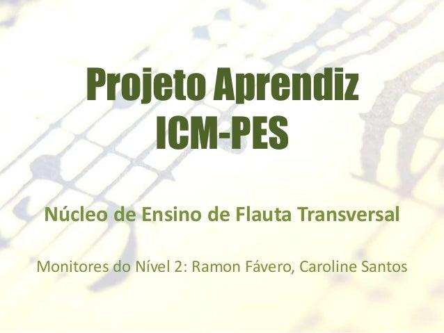 Projeto Aprendiz ICM-PES Núcleo de Ensino de Flauta Transversal Monitores do Nível 2: Ramon Fávero, Caroline Santos