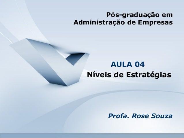 Pós-graduação em  Administração de Empresas  AULA 04  Níveis de Estratégias  Profa. Rose Souza
