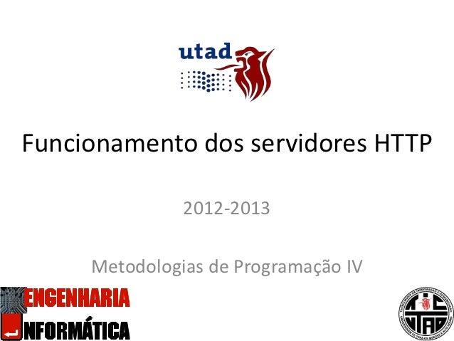 Funcionamento dos servidores HTTP               2012-2013     Metodologias de Programação IV