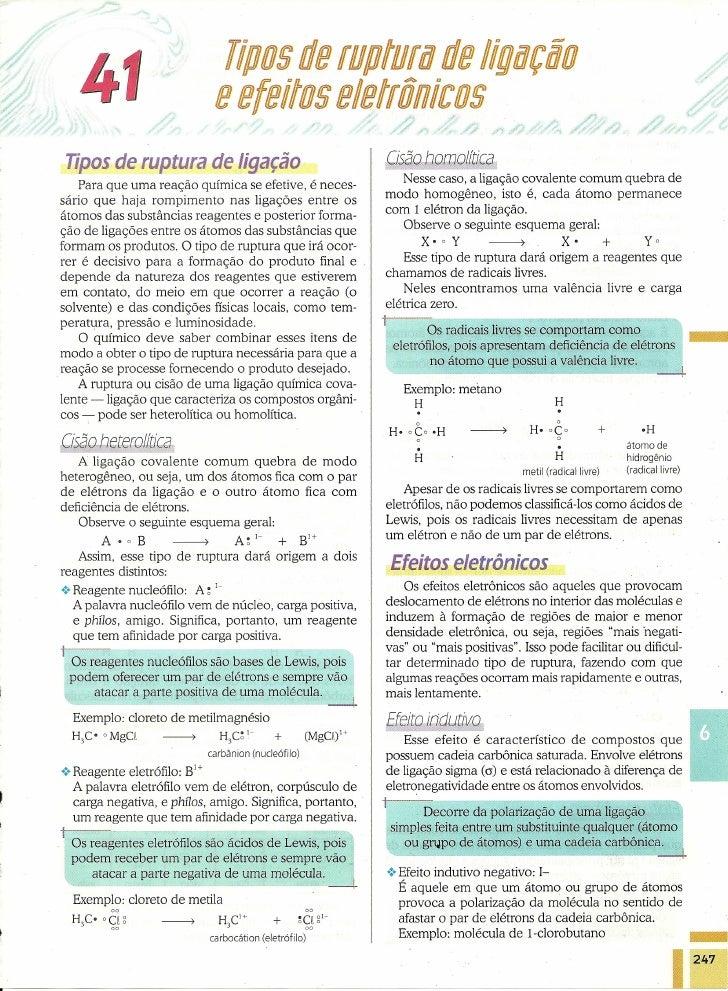 llpos de rupturta de IlgtafÇjo   4                              e efeitos eletrônicos Tipos de ruptura de ligação         ...