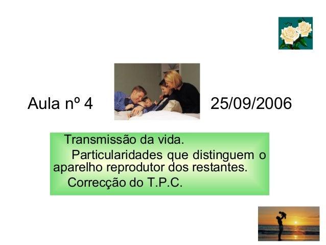 Aula nº 4 25/09/2006 Transmissão da vida. Particularidades que distinguem o aparelho reprodutor dos restantes. Correcção d...