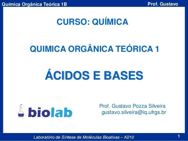1Laboratório de Síntese de Moléculas Bioativas – K210 Prof. GustavoQuímica Orgânica Teórica 1B CURSO: QUÍMICA QUIMICA ORGÂ...