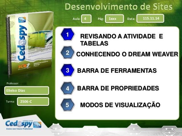 Aula: Pág: Data: Turma: 4 1xxx 115.11.14 Elielso Dias Professor: 2506-C REVISANDO A ATIVIDADE E TABELAS 1 2 3 4 CONHECENDO...