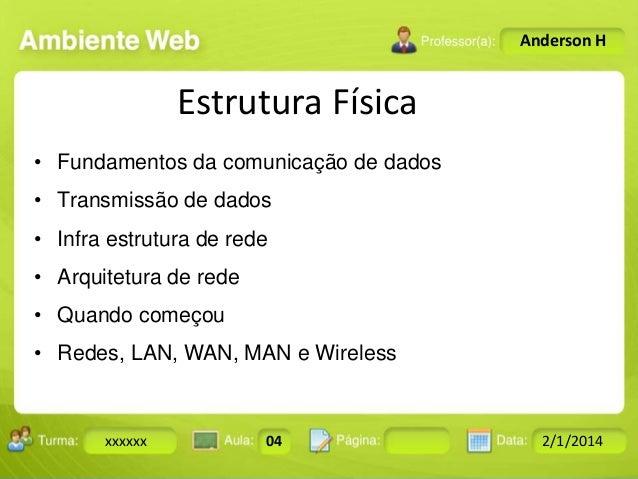Anderson H  Estrutura Física • Fundamentos da comunicação de dados  • Transmissão de dados • Infra estrutura de rede • Arq...