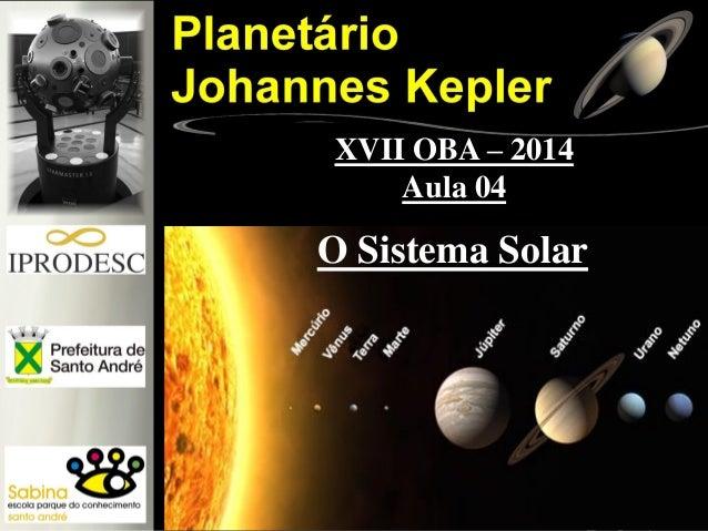 O Sistema Solar XVII OBA – 2014 Aula 04