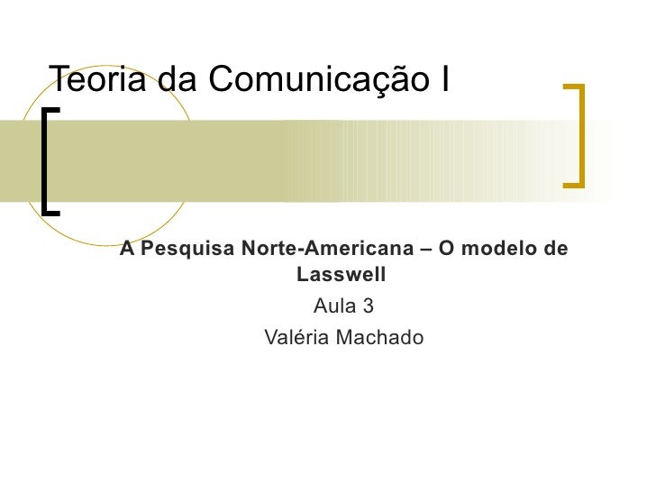 Teoria da Comunicação I <ul><ul><li>A Pesquisa Norte-Americana – O modelo de Lasswell  </li></ul></ul><ul><ul><li>Aula 3 <...