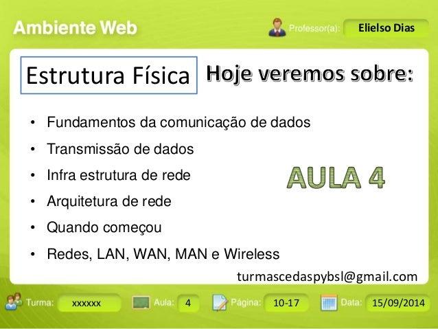 Turma: 2503-B Aula: 10 Pág: 10 a 17 Data: 18-jan-12  xxxxxx 4 10-17 15/09/2014  Instrutor: Ricardo Paladini Matos  Elielso...