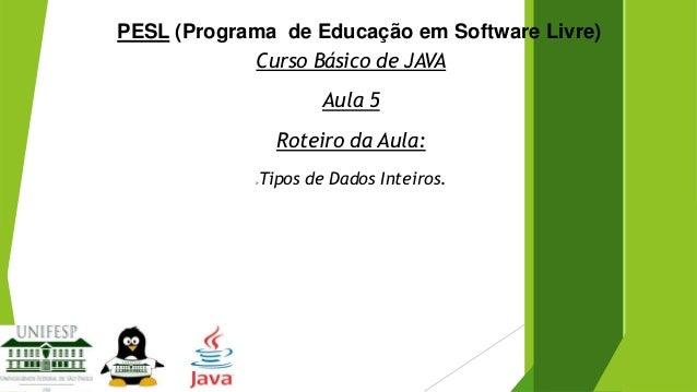 PESL (Programa de Educação em Software Livre) Curso Básico de JAVA Aula 5 Roteiro da Aula:   Tipos de Dados Inteiros.