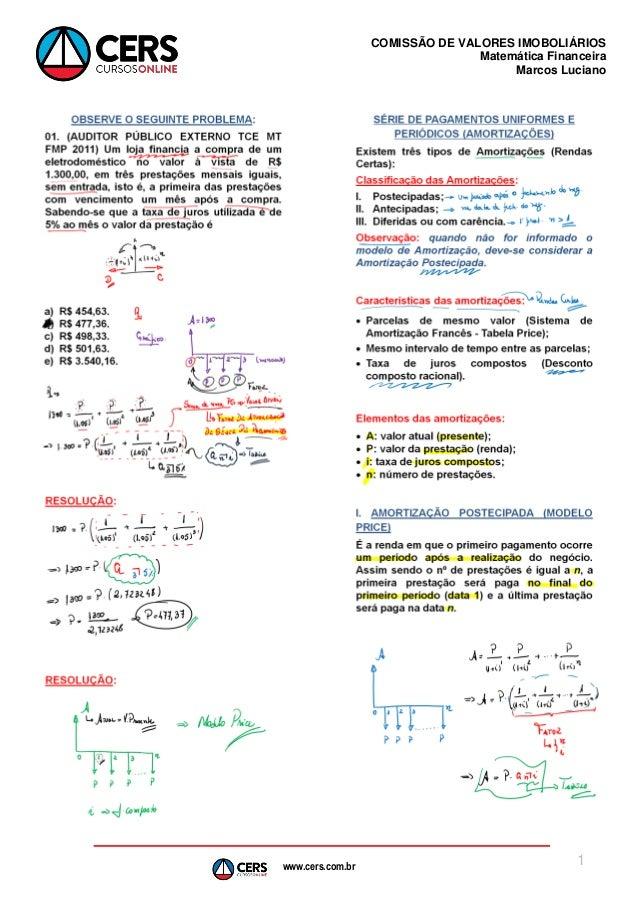 www.cers.com.br COMISSÃO DE VALORES IMOBOLIÁRIOS Matemática Financeira Marcos Luciano 1