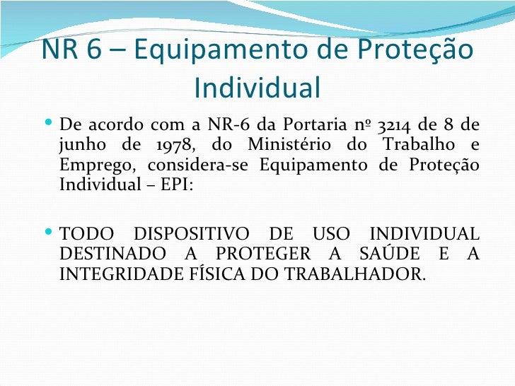 NR 6 – Equipamento de Proteção Individual ... aad0cefc39
