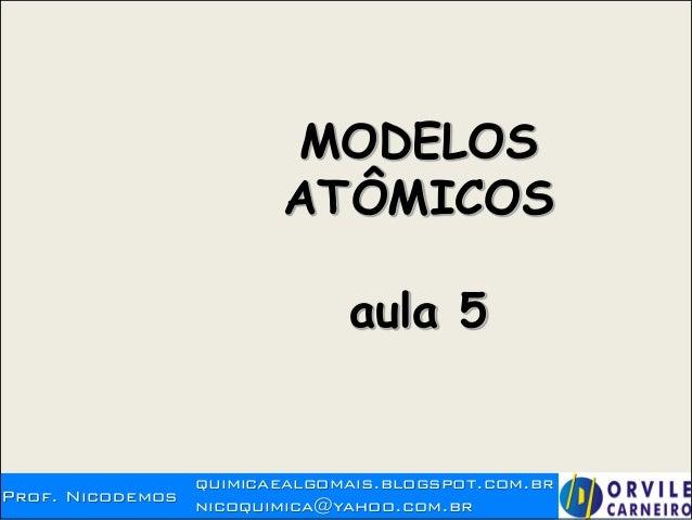 Prof. Nicodemos quimicaealgomais.blogspot.com.br nicoquimica@yahoo.com.br MODELOS ATÔMICOS aula 5 A EVOLUÇÃO DOS MODELOS A...