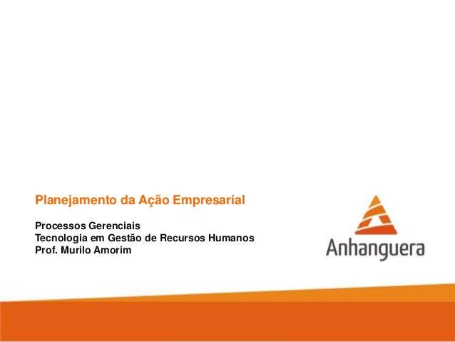 Planejamento da Ação Empresarial Processos Gerenciais Tecnologia em Gestão de Recursos Humanos Prof. Murilo Amorim