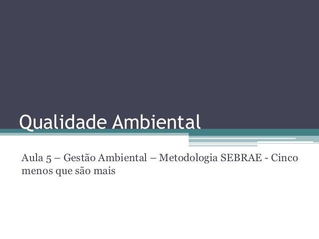 Qualidade Ambiental Aula 5 – Gestão Ambiental – Metodologia SEBRAE - Cinco menos que são mais