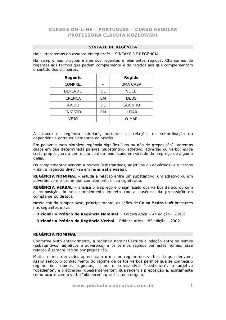 CURSOS ON-LINE – PORTUGUÊS – CURSO REGULAR             PROFESSORA CLAUDIA KOZLOWSKI                            SINTAXE DE ...
